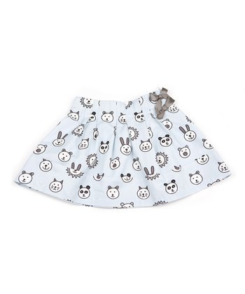 Light Blue Animal Bow Skirt - Girls