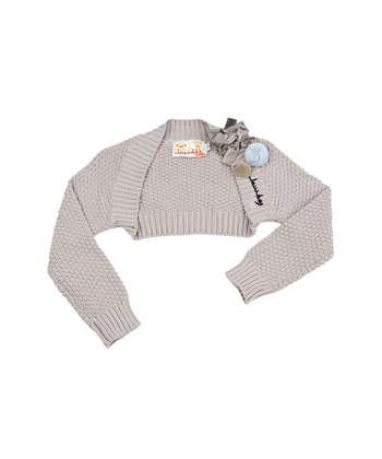 Taupe Pom-Pom Bow Bolero - Infant & Girls