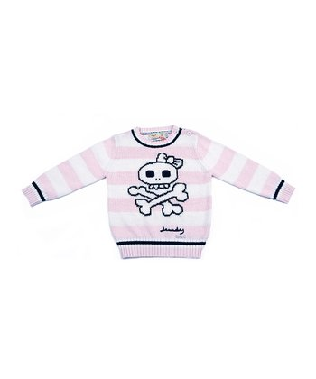 Light Pink & White Stripe Skull Sweater - Toddler & Girls