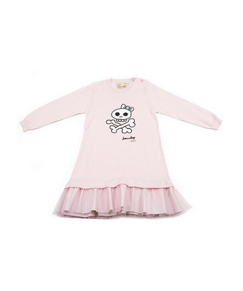 Light Pink Skull Ruffle Sweater Dress - Infant, Toddler & Girls