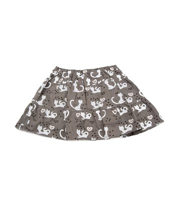 Gray Cat Tiered Skirt - Infant, Toddler & Girls