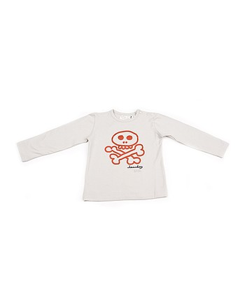 White & Red Skull Tee - Boys