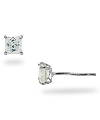 White Gold Square Cubic Zirconia Earrings