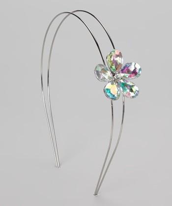 Silver Rhinestone Flower Headband