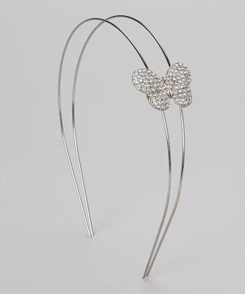 Silver Rhinestone Butterfly Headband