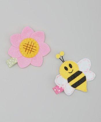 Pink & Yellow Flower & Bee Clip Set