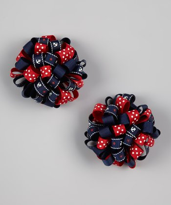 Navy Nautical Puff Clip Set