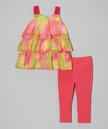 Pink Palm Tree Tiered Top & Leggings - Infant, Toddler & Girls