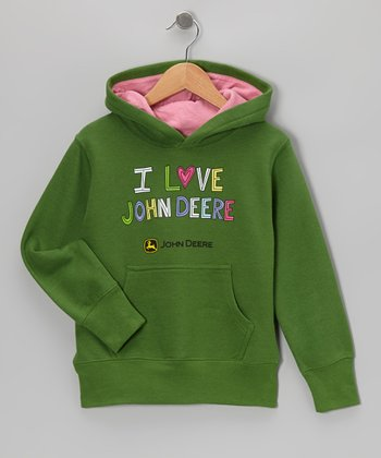 Green 'I Love John Deere' Fleece Hoodie - Girls