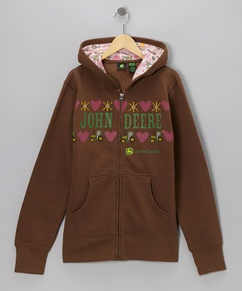 Brown Fleece 'John Deere' Zip-Up Hoodie - Girls