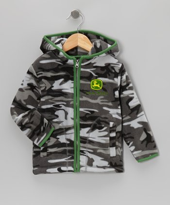 Black Camouflage Fleece Zip-Up Hoodie - Toddler