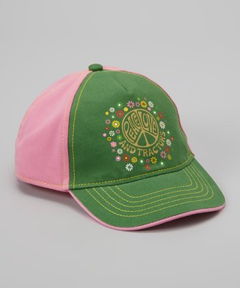 Green & Pink 'Peace, Love & Tractors' Baseball Cap