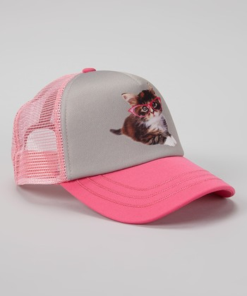 Pink & Gray Cat Trucker Hat