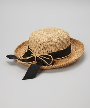 Natural & Black Bow Woven Raffia Hat