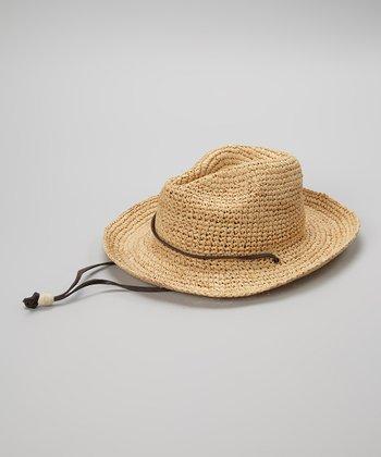 Natural Chin Strap Raffia Cowboy Hat
