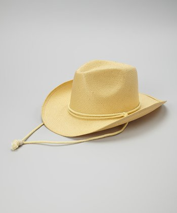 Beige Woven Cowgirl Hat
