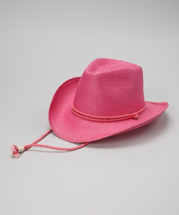 Bright Pink Woven Cowgirl Hat