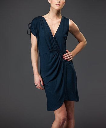 Navy Surplice Dress