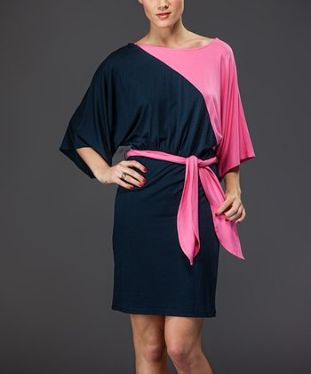 Navy & Pink Color Block Dress