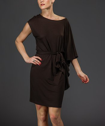 Brown Tie-Waist Dress