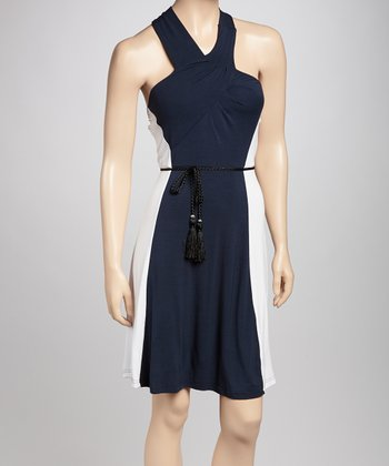 Navy & White Color Block Halter Dress - Petite