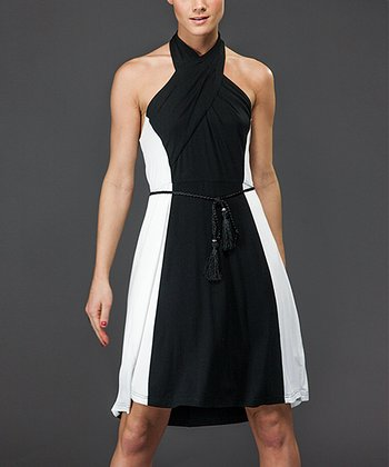 Navy & White Halter Dress