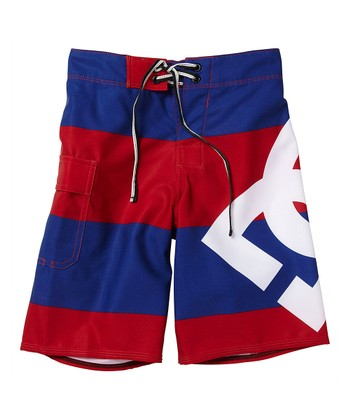 Red & Blue Stripe Lanai Boardshorts - Boys