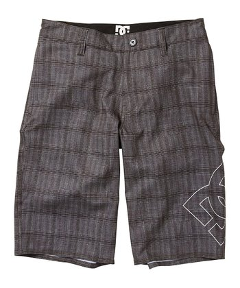 Pewter Plaid Lanaibrid Boardshorts - Boys