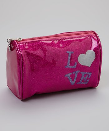 Pink Glitter 'Love' Cosmetic Bag