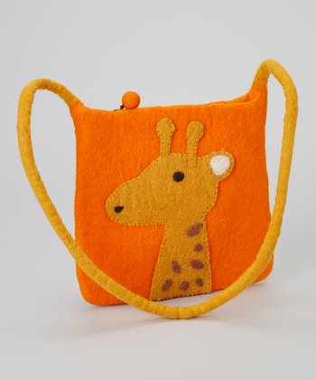 Orange Giraffe Wool-Blend Shoulder Bag