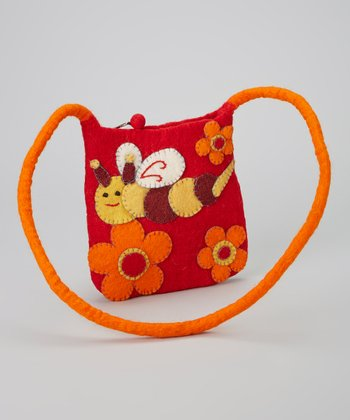 Red & Orange Bumblebee Wool-Blend Crossbody Bag
