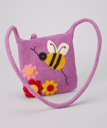 Purple Bumblebee Wool-Blend Crossbody Bag