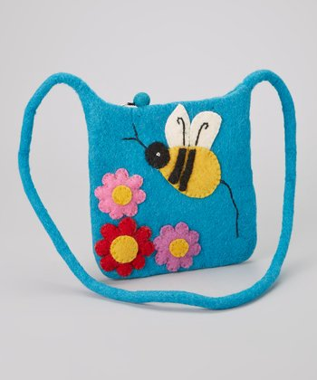 Turquoise Bumblebee Wool-Blend Crossbody Bag