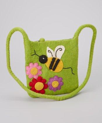 Light Green Bumblebee Wool-Blend Crossbody Bag