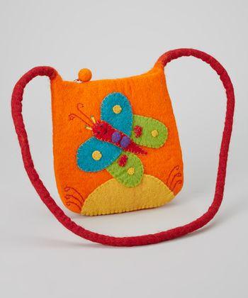 Orange Butterfly Wool-Blend Crossbody Bag