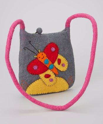 Gray Butterfly Wool-Blend Crossbody Bag