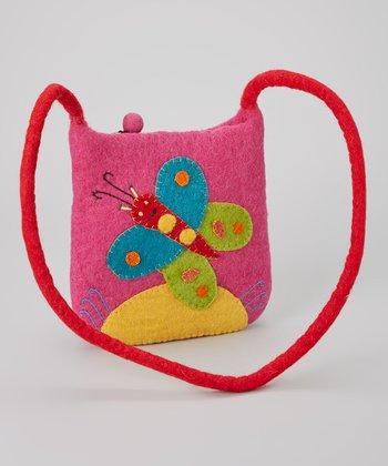 Pink Butterfly Wool-Blend Crossbody Bag