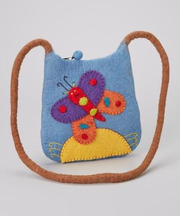 Blue Butterfly Wool-Blend Crossbody Bag