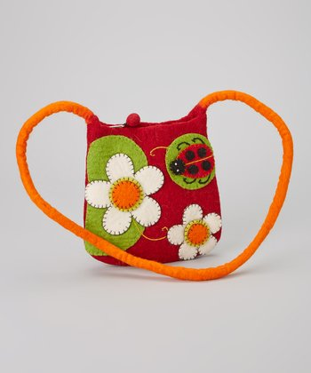 Red Ladybug Wool-Blend Crossbody Bag