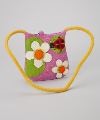 Purple Ladybug Wool-Blend Crossbody Bag
