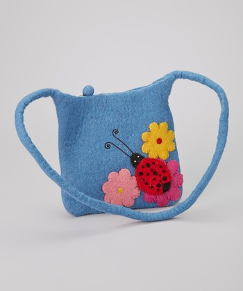 Blue Ladybug Wool-Blend Shoulder Bag