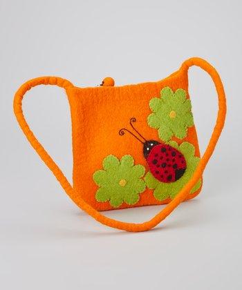 Orange Ladybug Wool-Blend Shoulder Bag