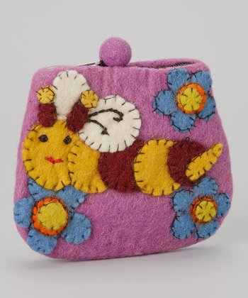 Purple Honey Bee Wool-Blend Coin Purse