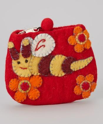 Red Honey Bee Wool-Blend Coin Purse