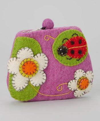 Purple Ladybug Wool-Blend Coin Purse