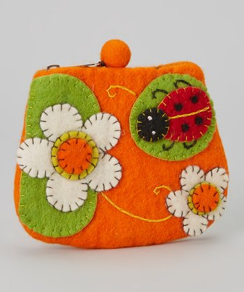 Orange Ladybug Wool-Blend Coin Purse