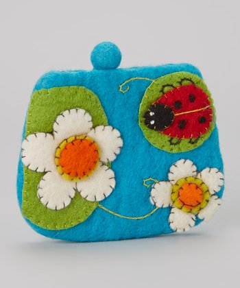 Turquoise Ladybug Wool-Blend Coin Purse