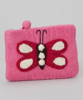 Light Pink Butterfly Wool-Blend Coin Purse