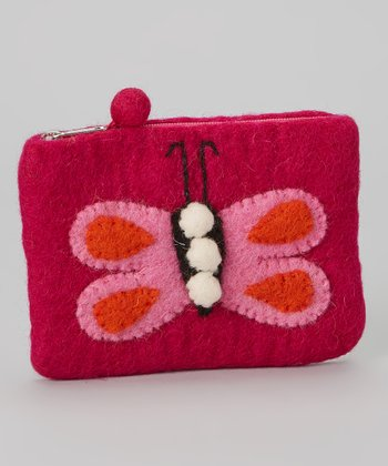 Dark Pink Butterfly Wool-Blend Coin Purse