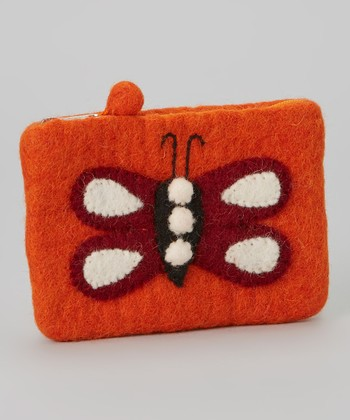 Orange Butterfly Wool-Blend Coin Purse